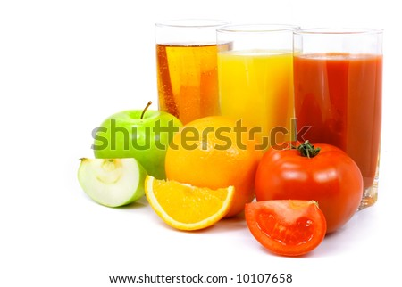 apple orange and tomato fruits with juice in the glass isolated over white background