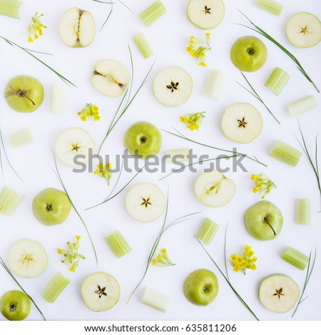 Apple pattern. Fresh green apples in a cut. Abstract food background.