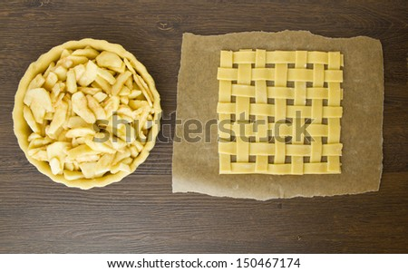 Apple pie being made with lattice top