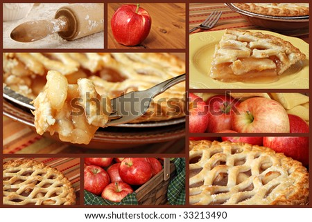 Apple Pie collage with eight photographs of baking and serving apple pie on a brown background.