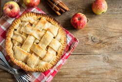 Apple Pie Dessert with Lattice. Homemade American Pie from Organic Autumn Apples.