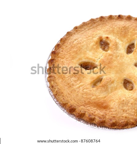 Apple Pie On White Background ,Close Up