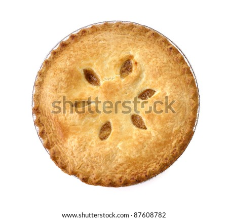 Apple Pie On White Background , Top View
