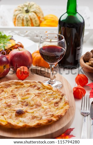 Apple pie or tart with red wine for Thanksgiving