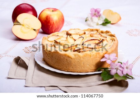 Apple pie slice with pie on background