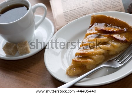 Apple pie with coffee