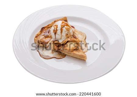 Apple pie with vanilla ice cream and caramel isolated on white background Imagine de stoc ©