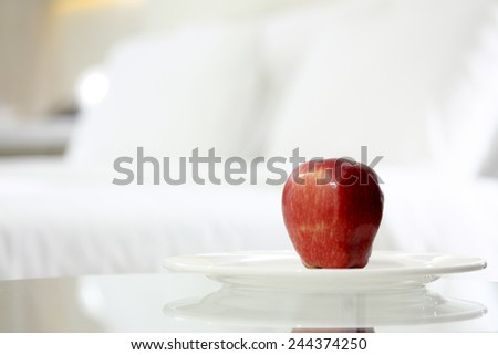 Apple  present for breakfast in the bedroom.