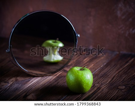 Apple reflecting in the mirror surrealistic picture abstract vision Photo stock ©