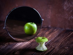 Apple reflecting mirror surrealistic picture abstract vision
