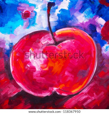 Apple ripe red with a branch and a leaflet, reflection on a dark blue black gray background drawn by oil paint by convas