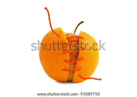 Apple's new skin made of orange, isolated on white