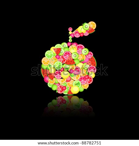 apple silhouette filled with different fruits - pomegranate orange apple cherry watermelon on black background
