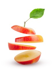 apple slices flying in the air isolated on white background