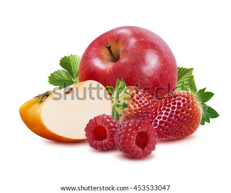 Apple strawberry raspberry isolated on white background as package design element #453533047