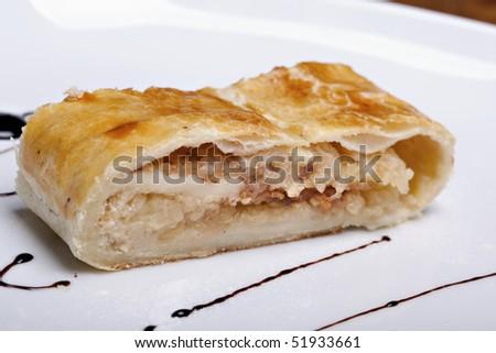 Apple strudel, delicious sweet cake