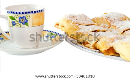 Apple strudel with cup of tea