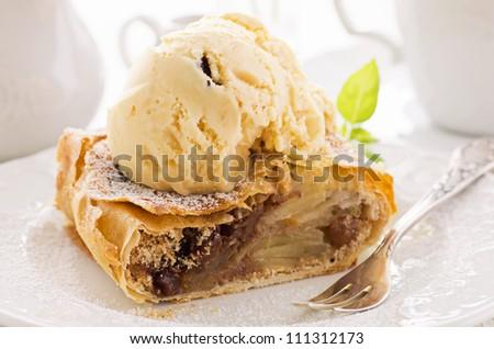 apple strudel with ice cream - stock photo
