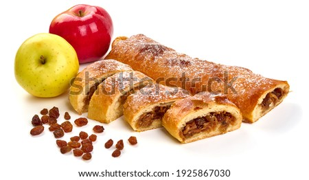 Apple strudel with raisins, isolated on white background.  ストックフォト ©