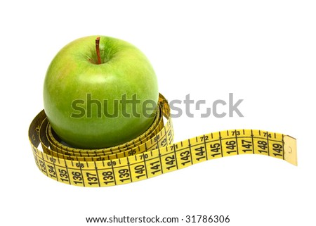Apple tighten with measure tape isolated on white