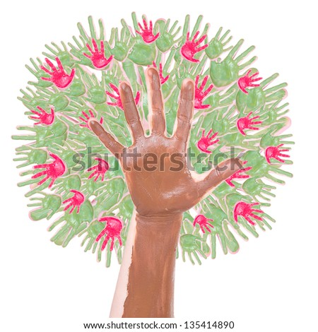 apple tree made of children's hands isolated on a white background