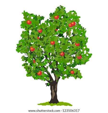 Apple tree with fruits. Raster version of vector illustration.