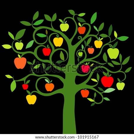 apple tree with red apples isolated on black background. illustration