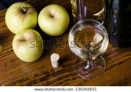 Apple wine, liqueur or mosto - stock photo
