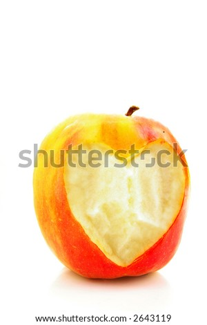 Apple with a heart shaped bite taken out. (healthy diet)