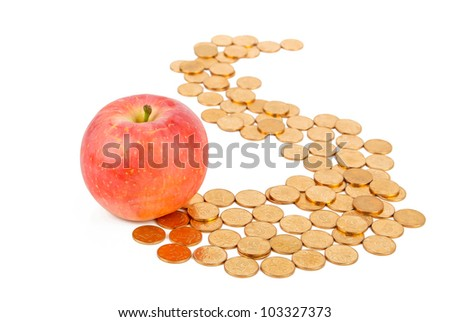 Apple with coin