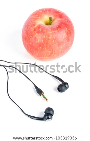 Apple with earphone
