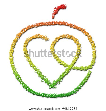 Apple with heart inside on a white background.