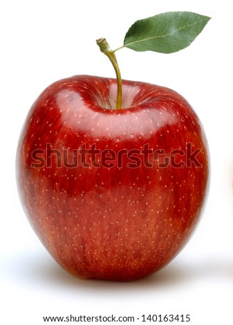 apple with leaf on white background
