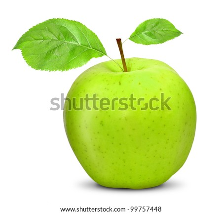 apple with leaves isolated on white
