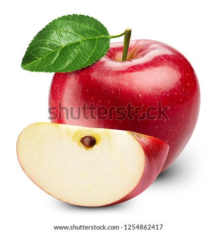 Apple with leaves isolated on white. Apple Clipping Path