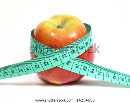 Apple with meter with ideal measure