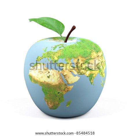 Apple world. 3d image.