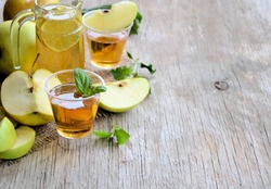 Apples and apple juice, healthy food, background