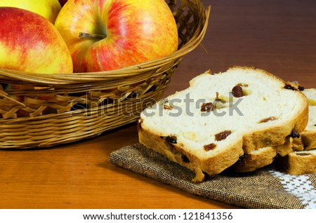 Apples and cake on a table