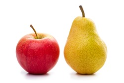 Apples and pears. Isolate on a white background.