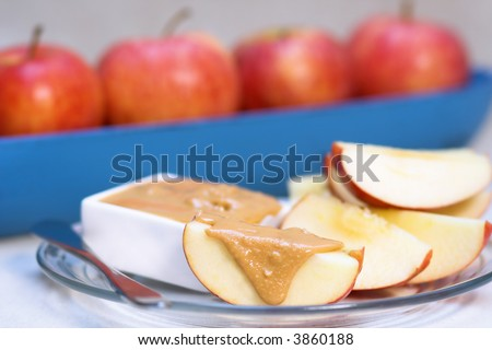 Apples and slices with peanut butter