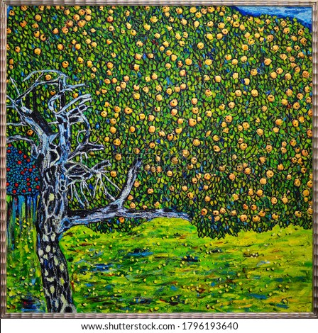 Apples . Brush strokes and canvas texture Beautiful Oil Painting apple tree.in golden frame. Free copy is based on a photo reproduction of a wonderful painting by Gustav Klimt -The Golden Apple Tree-