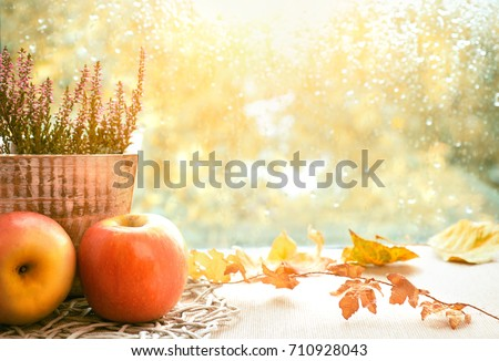 Apples, heather and Autumn leaves on a window board on a rainy day. Toned image, space for your text #710928043