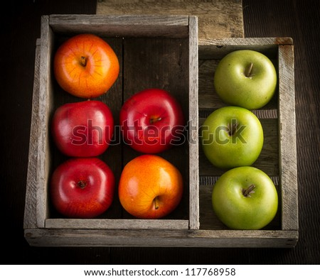 Apples in wooden crates