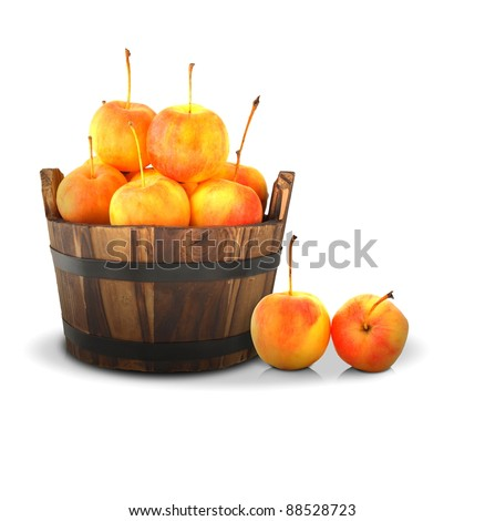Apples Mini.Apples in barrels on a white background.
