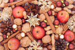 apples, nuts, pine cone, christmas tree balls and stars/christmas/decoration