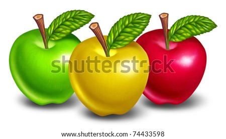 Types Of Yellow Apple's http://www.shutterstock.com/pic-74433598/stock-photo-apples-of-different-types-and-colors-with-yellow-fruit-in-front-and-natures-green-and-red-treats-in.html