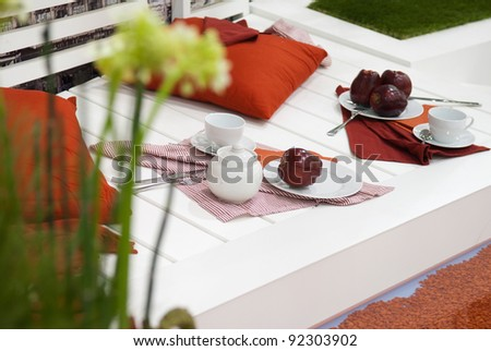 apples on the white deck