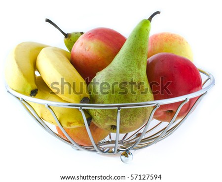 apples, pears and bananas in a metal vase on a white background