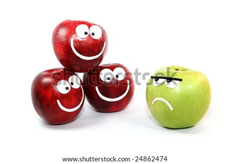 Apples-smiles symbolize themselves a difference between a command and the single